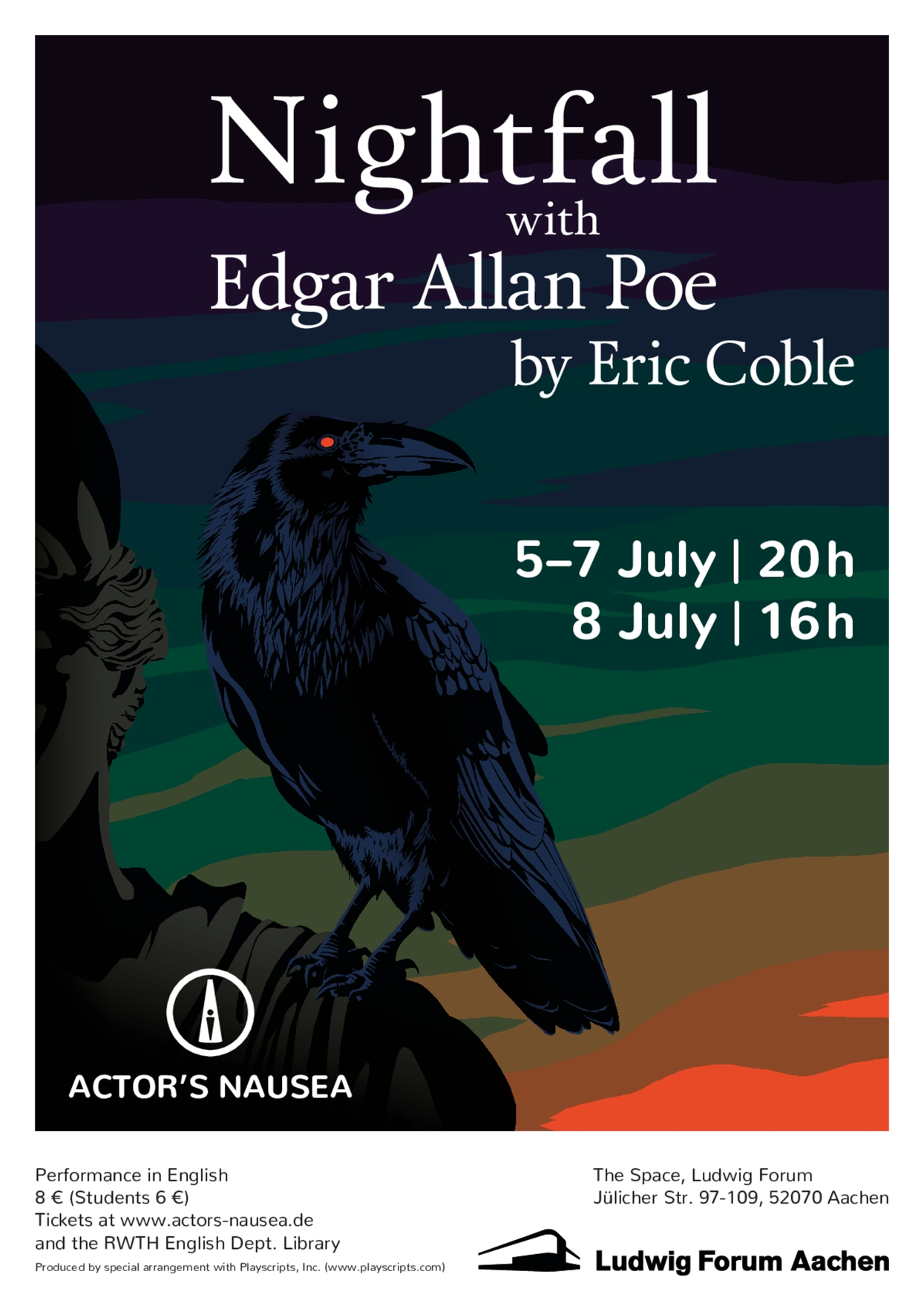 Nightfall with Edgar Allan Poe - Poster by Lilian Kojan